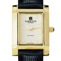 Marquette Women's Gold Quad Watch with Leather Strap