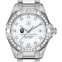 Ole Miss Women's TAG Heuer Steel Aquaracer with MOP Diamond Dial & Diamond Bezel