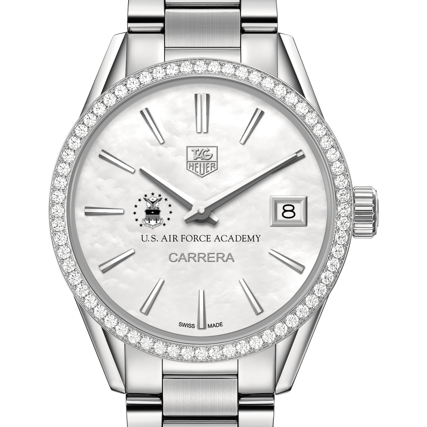 Air Force Academy Women's TAG Heuer Steel Carrera with MOP Dial & Diamond Bezel