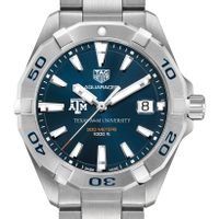 Texas A&M Men's TAG Heuer Steel Aquaracer with Blue Dial
