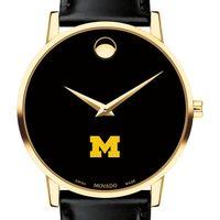 Michigan Men's Movado Gold Museum Classic Leather