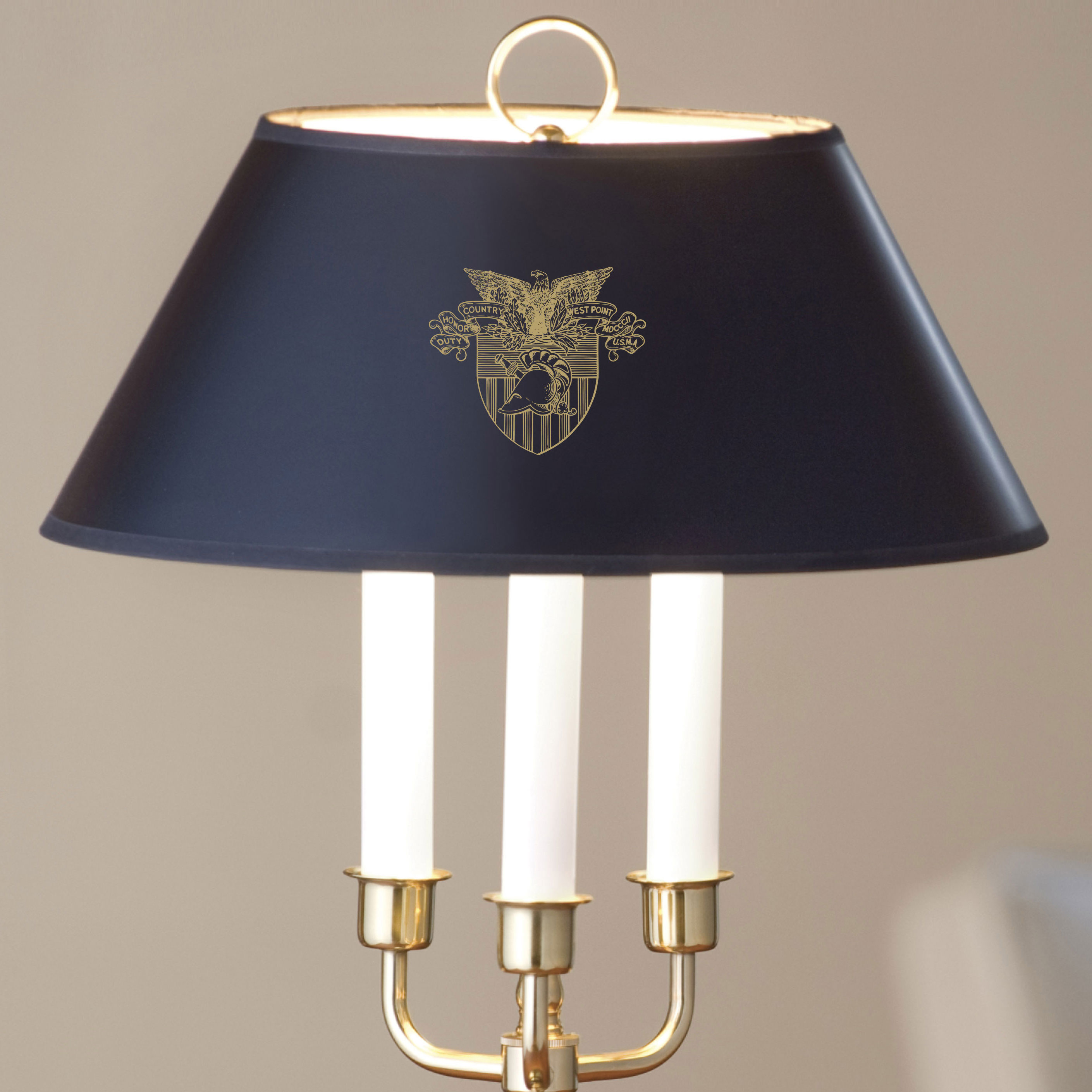 Traditional West Point Lamp in Brass and Marble
