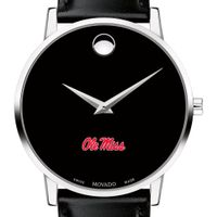Ole Miss Men's Movado Museum with Leather Strap