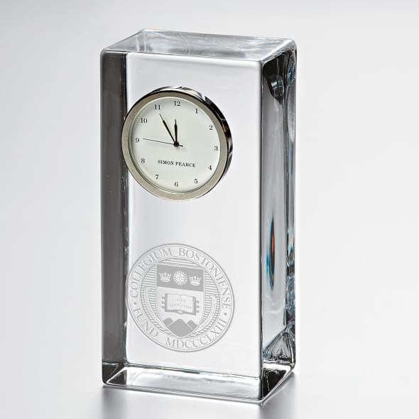 Boston College Tall Glass Desk Clock by Simon Pearce