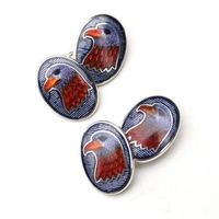 <span style='color: red;'>Clearance Sale!</span><br />Sterling Silver and Enamel Eagle Cufflinks