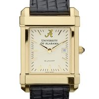 Alabama Men's Gold Quad Watch with Leather Strap