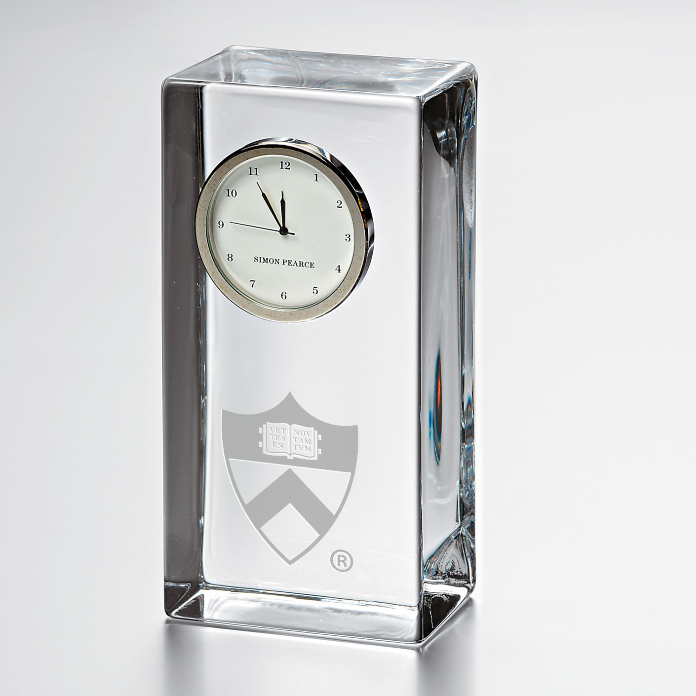 Princeton Tall Desk Clock by Simon Pearce