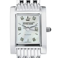 Notre Dame Women's Mother of Pearl Quad Watch with Diamonds & Bracelet