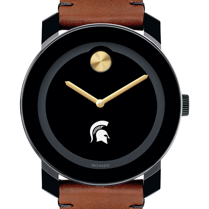 Michigan State Men's Movado BOLD with Brown Leather Strap