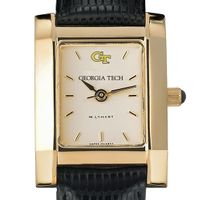 Georgia Tech Women's Gold Quad Watch with Leather Strap