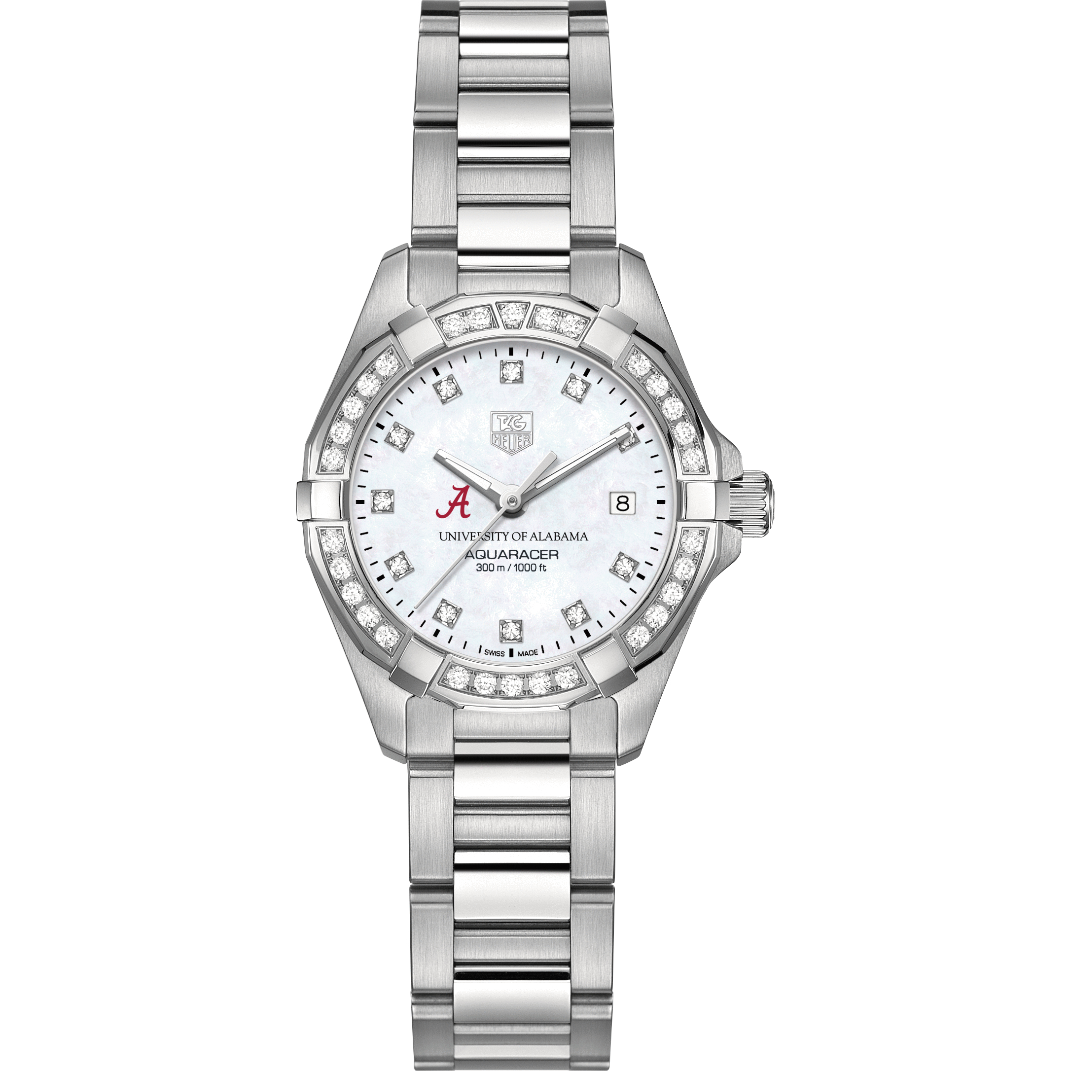 Alabama Women's TAG Heuer Steel Aquaracer with MOP Diamond Dial & Diamond Bezel