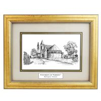 Framed Pen and Ink UVM Print