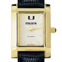 Miami Women's Gold Quad with Leather Strap