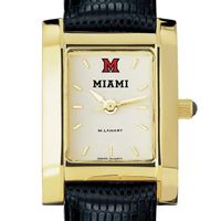 Miami University Women's Gold Quad with Leather Strap