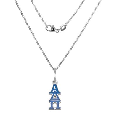 Alpha Delta Pi Sterling Silver Necklace with Greek Letter Charm
