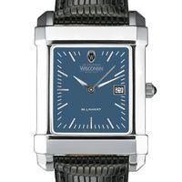 Wisconsin Men's Blue Quad Watch with Leather Strap