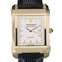 Vanderbilt Men's Gold Quad Watch with Leather Strap