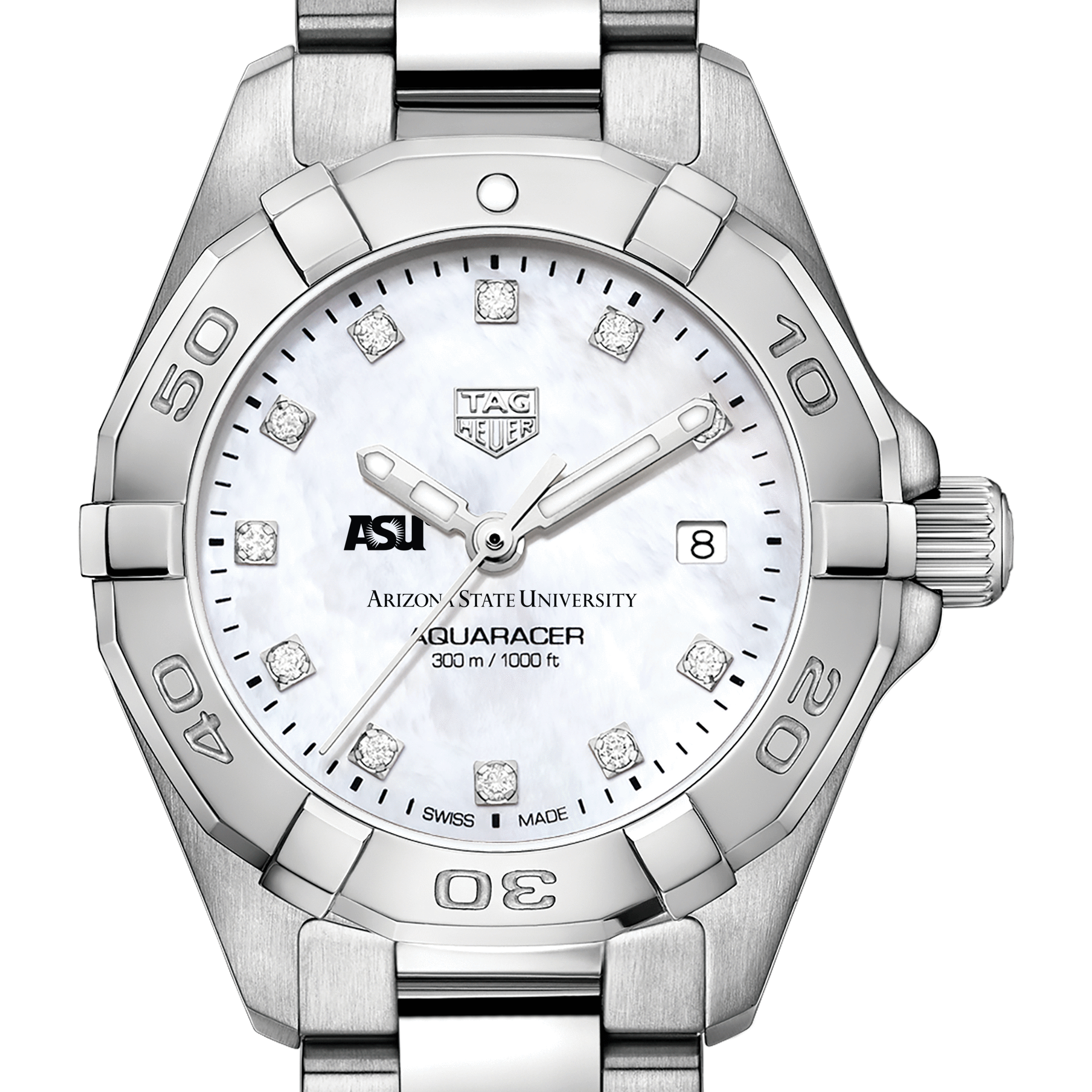 Arizona State Women's TAG Heuer Steel Aquaracer with MOP Diamond Dial