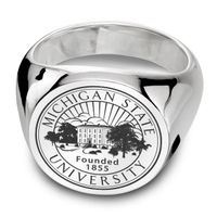 Michigan State Sterling Silver Round Signet Ring