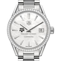 Texas A&M Women's TAG Heuer Steel Carrera with MOP Dial & Diamond Bezel