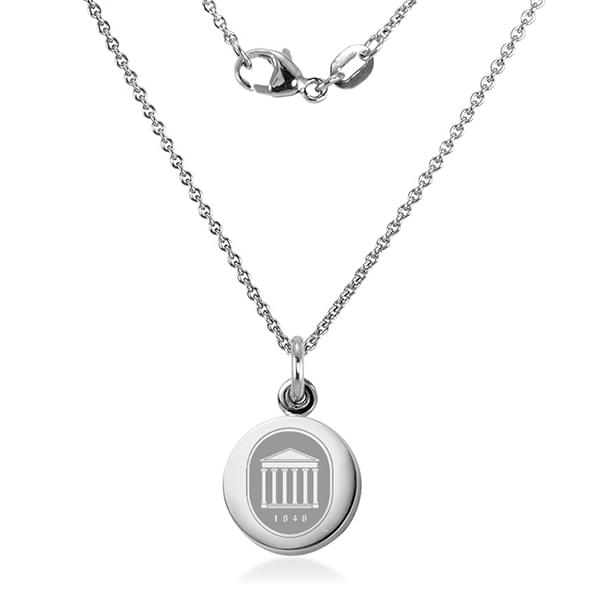 Ole Miss Sterling Silver Necklace with Silver Charm Image-2