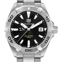 Sigma Nu Men's TAG Heuer Steel Aquaracer with Black Dial Image-1 Thumbnail