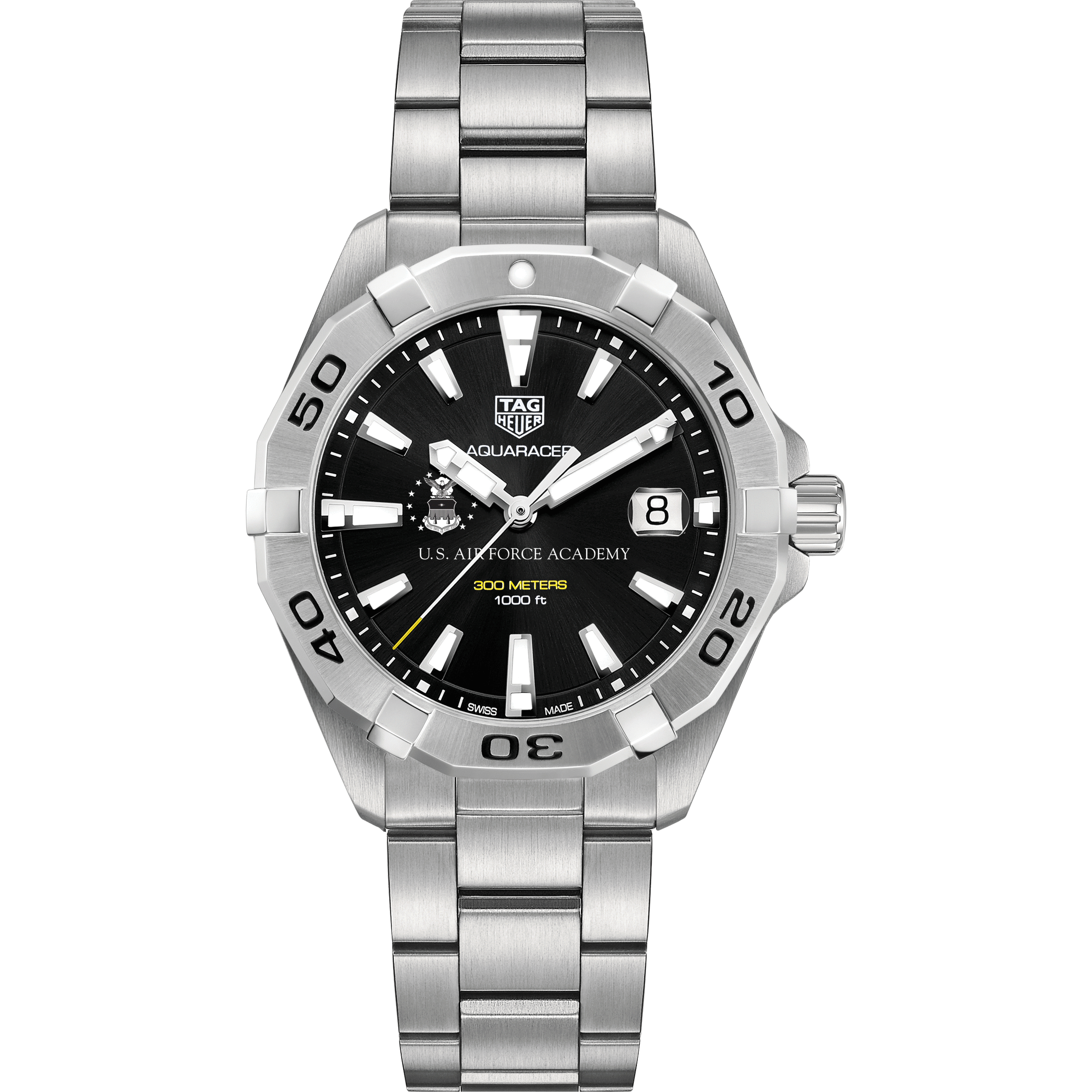 Air Force Academy Men's TAG Heuer Steel Aquaracer with Black Dial